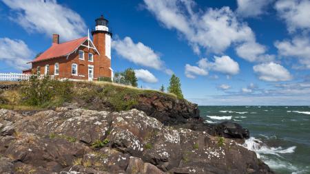 Обои маяк, море, побережье