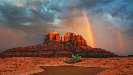 Картинки радуга, горы, облака, кактус