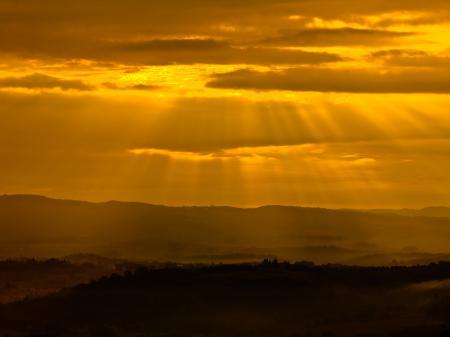 Фото закат, солнце, лучи, свет