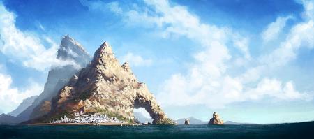 Картинки пейзаж, рисунок, гора, остров