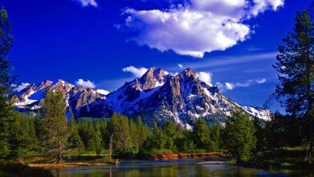Обои Природа, лес, горы, река