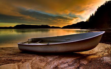 Фотографии закат, лодка, река, пейзаж