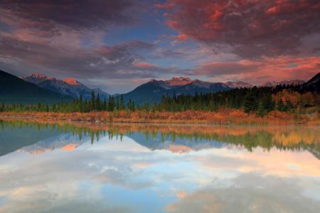 Обои горы, лес, река, небо