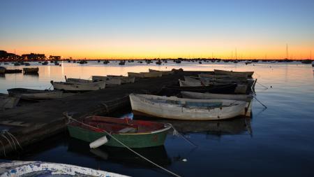 Картинки лодки, озеро, закат, пейзаж