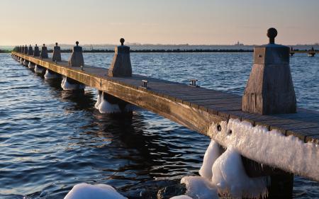 Картинки озеро, мост, лёд