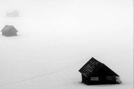 Заставки поле, дома, туман