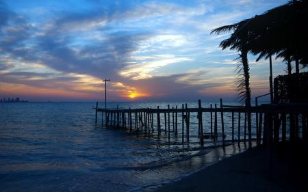 Фотографии озеро, мост, закат, пейзаж