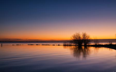 Заставки закат, озеро, природа, пейзаж