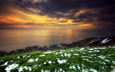 Фотографии закат, море, снег, пейзаж