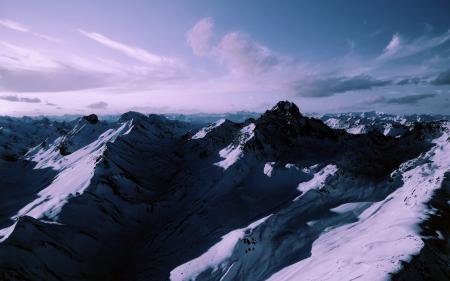 Фотографии Заснеженные горы, горы, горный хребет, много гор