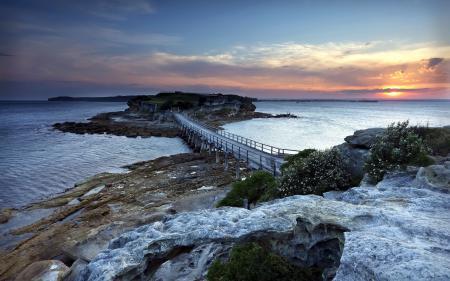 Фото мост, река, закат, пейзаж