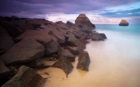 Обои море, небо, камни, природа