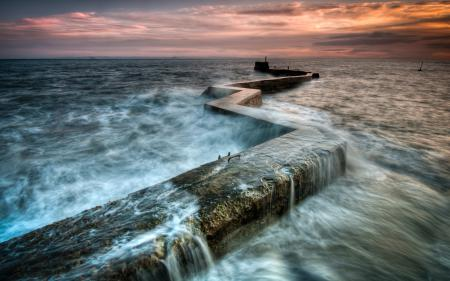 Фото море, потоки, пирс, бетон