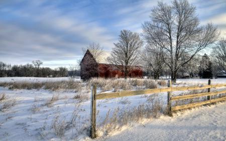 Обои зима, забор, дом, пейзаж