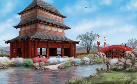 Обои арт, азия, здание, река