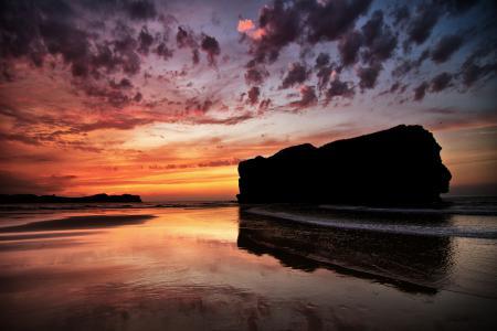 Картинки небо, море, закат, скала
