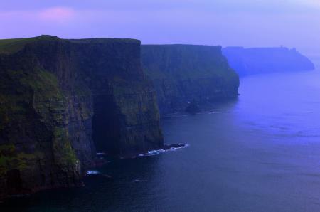 Заставки скалы, море, туман, сиреневый