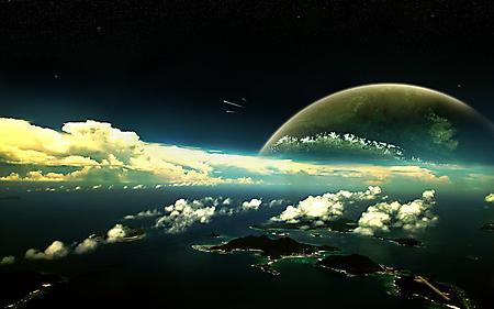 Картинки острова, высота, облака, кометы