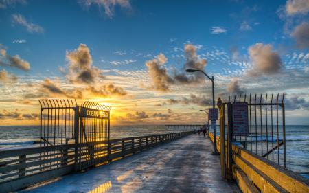 Картинки море, мост, закат, пейзаж