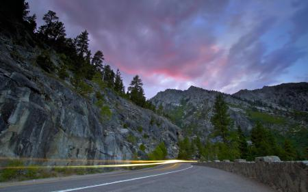 Картинки закат, дорога, след, пейзаж