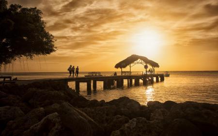Обои закат, море, мост, пейзаж