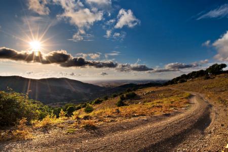 Фотографии горы, дорога, облака, солнце