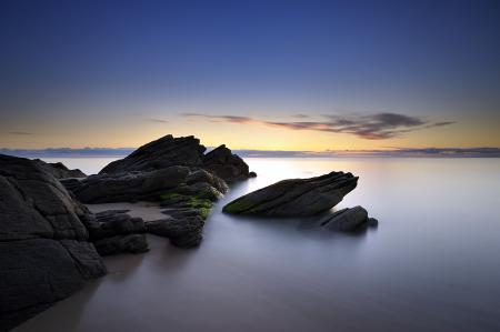 Фото море, ночь, скалы, пейзаж