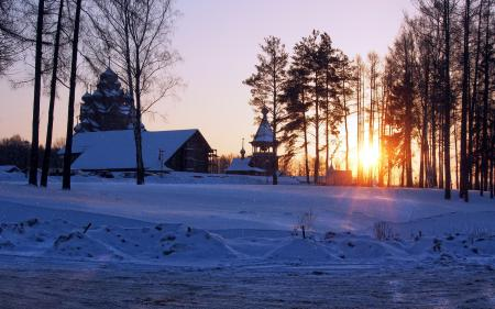 Фото зима, закат, храм