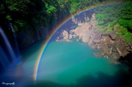 Фото пейзаж, водопад, радуга, озеро