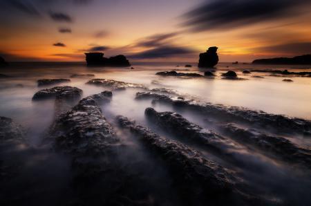 Обои природа, океан, скалы, рассвет