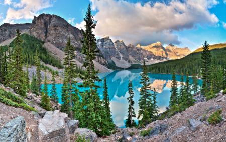 Фотографии озеро, ели, Морейн, вода