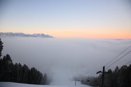 Фотографии туман, долина, горы, фуникулер