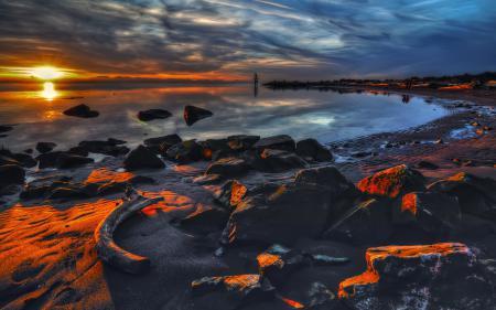 Фото небо, море, камни, берег