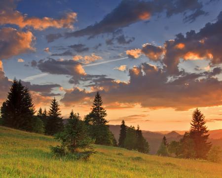 Фото облака, рассвет, деревья, горы