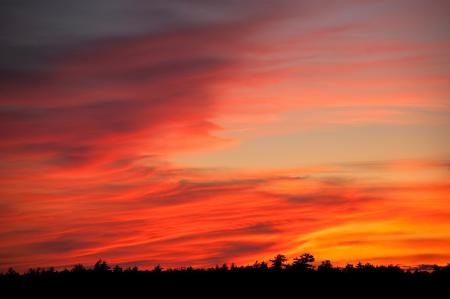 Картинки небо, облака, закат, красный