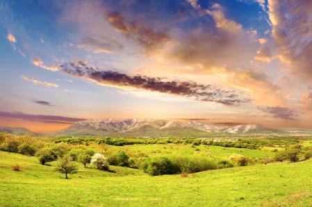 Фотографии горы, холмы, деревья, трава
