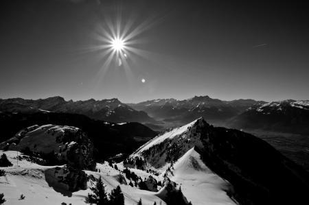 Обои пейзажи, landscape, горы, солнце