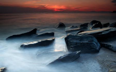 Фотографии Закат, небо, камни, берег