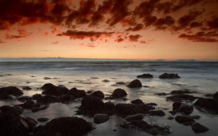 Фотографии Закат, небо, облака, камни