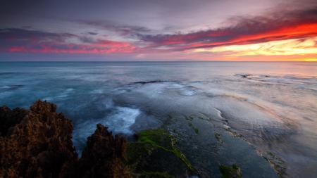 Картинки Закат, небо, океан, камни