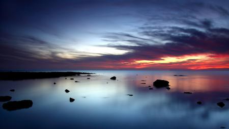 Фото Закат, небо, море, камни