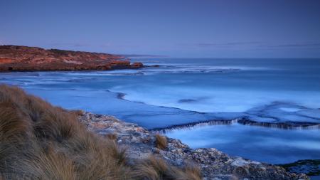 Картинки Вечер, море, берег, трава