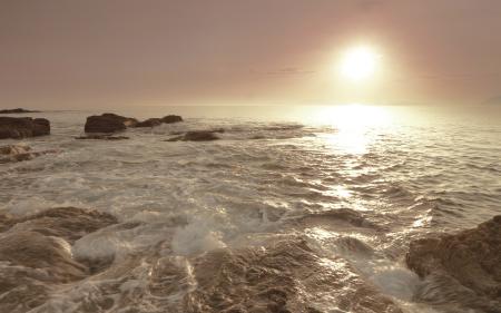 Фото Закат, солнце, море, камни
