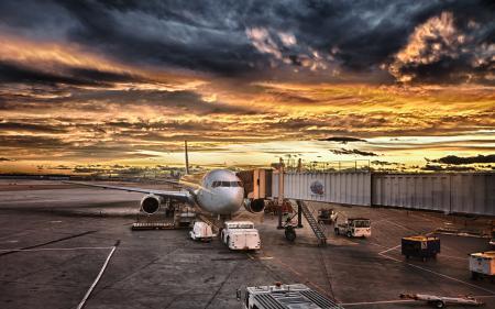 Заставки пейзаж, закат, аэропорт, самолет