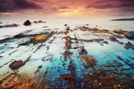 Заставки море, берег, закат, небо
