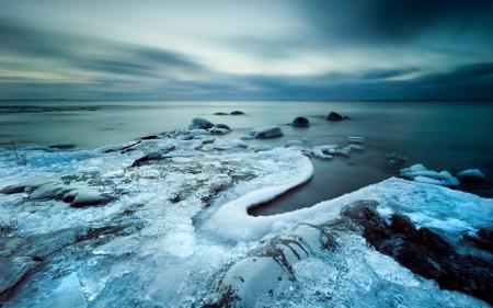 Картинки море, зима, закат, лёд