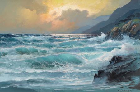 Обои painting, Sea, sky, shore