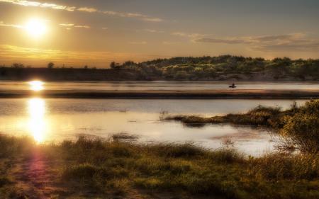 Фото закат, река, природа, пейзаж