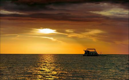 Заставки море, закат, небо, корабль