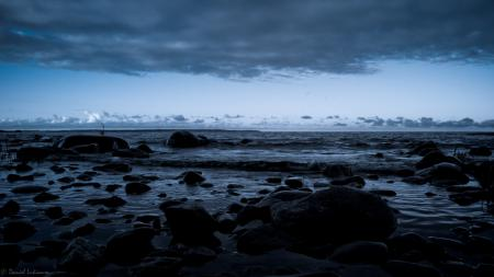 Фотографии вода, камни, залив, ночь
